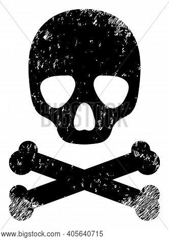 Death Skull Icon With Scratched Effect. Isolated Vector Death Skull Icon Image With Scratched Rubber