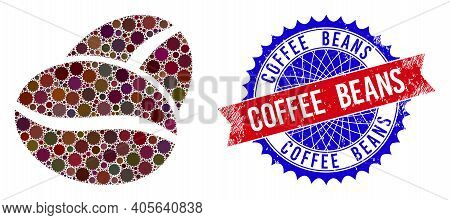Coffee Beans Vector Mosaic Of Sharp Rosettes And Coffee Beans Grunge Stamp Imitation. Bicolor Coffee