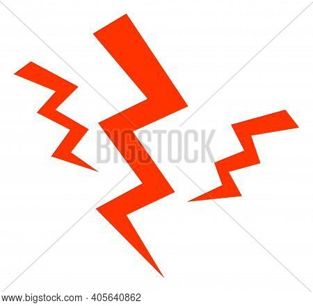 Crack Strikes Icon With Flat Style On A White Background. Isolated Vector Crack Strikes Icon Illustr