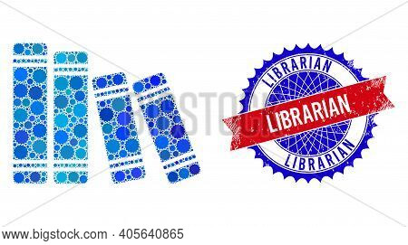 Books Vector Composition Of Sharp Rosettes And Librarian Textured Stamp. Bicolor Librarian Stamp Use