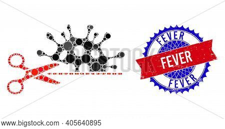 Cut Coronavirus Vector Composition Of Sharp Rosettes And Fever Scratched Stamp Imitation. Bicolor Fe