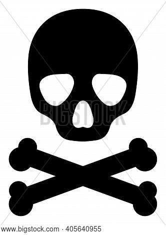 Death Skull Icon With Flat Style On A White Background. Isolated Vector Death Skull Icon Image, Simp