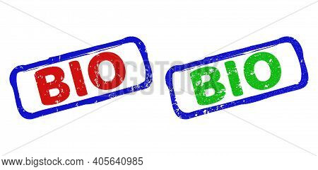 Vector Bio Framed Watermarks With Unclean Texture. Rough Bicolor Rectangle Watermarks. Red, Blue, Gr