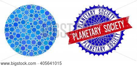 Circle Vector Mosaic Of Sharp Rosettes And Planetary Society Scratched Stamp Seal. Bicolor Planetary