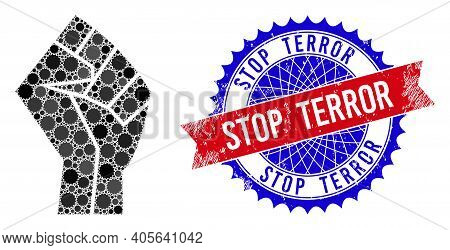 Fist Vector Composition Of Sharp Rosettes And Stop Terror Rough Stamp Print. Bicolor Stop Terror Sta