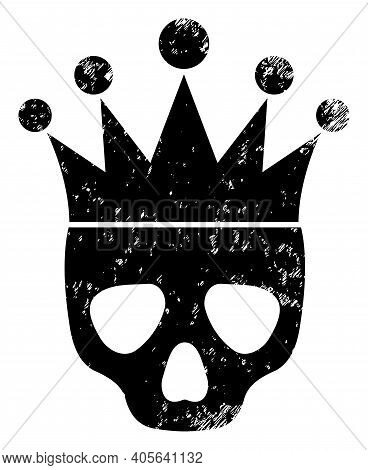 Dead King Icon With Scratched Style. Isolated Vector Dead King Icon Image With Scratched Rubber Text