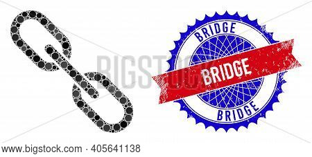 Chain Vector Collage Of Sharp Rosettes And Bridge Grunge Stamp Seal. Bicolor Bridge Stamp Seal Uses