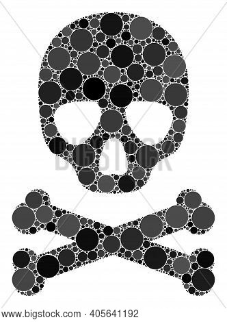 Death Skull Vector Mosaic Of Round Dots In Various Sizes And Color Shades. Round Dots Are Organized