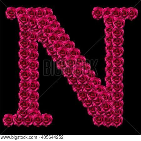 Romantic Concept Image Of A Capital Letter N Made Of Red Roses. Isolated On Black Background. Design