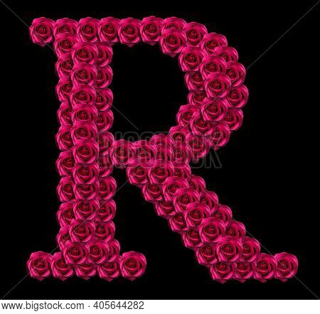 Romantic Concept Image Of A Capital Letter R Made Of Red Roses. Isolated On Black Background. Design