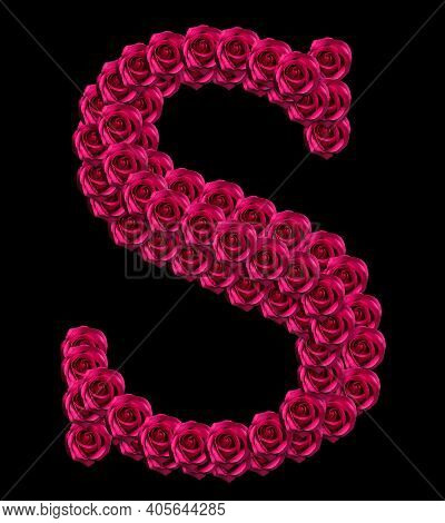 Romantic Concept Image Of A Capital Letter S Made Of Red Roses. Isolated On Black Background. Design