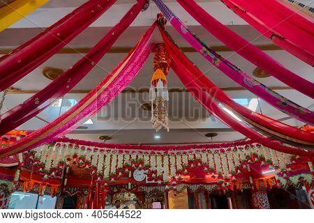 Jaisalmer, Rajasthan, India - 15th October 2019 : Decorated Tanot Mata Mandir At India Pakistan Bord