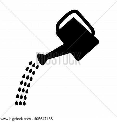 Watering Can Icon On White Background. Flat Style. Watering Can With Drops Of Water. Irrigation Symb