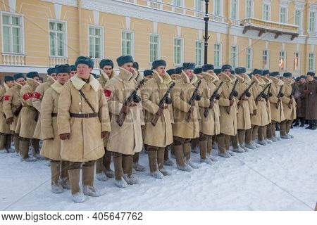 Saint Petersburg, Russia - January 24, 2019: Soldiers In Winter Uniforms During The Great Patriotic