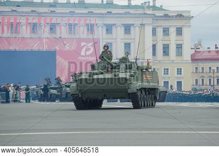 Saint Petersburg, Russia - June 20, 2020: A Infantry Fighting Vehicle (bmp-3) On The Rehearsal Of Th