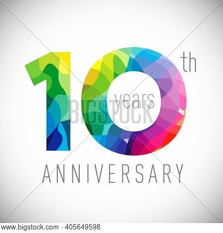 10th Anniversary Numbers. 10 Years Old Logotype. Bright Congrats. Isolated Abstract Graphic Design T