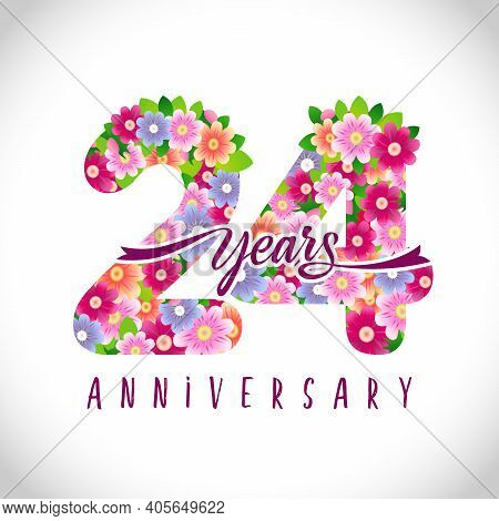 24 Anniversary Pink Numbers. 24 Years Old Logotype. Floral Pink Congrats. Isolated Abstract Graphic