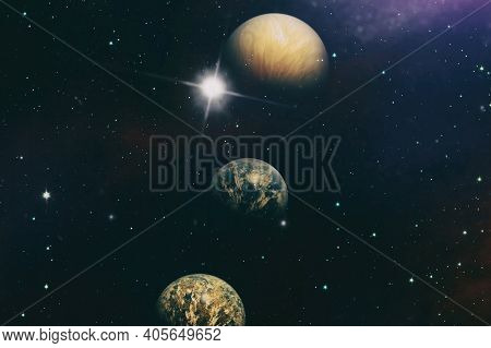 Colorful Nebula. Space Abstract Background . Elements Of This Image Furnished By Nasa