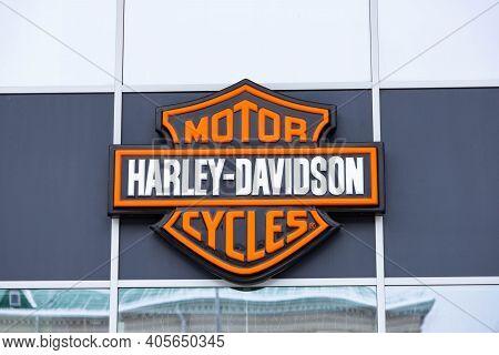 Minsk, Belarus - June 29, 2020 Harley Davidson Motorcycle Logo On An Advertising Sign. American Moto