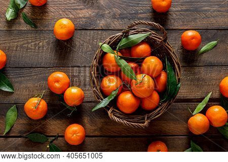 Tangerines, Fresh Mandarin Oranges, Clementines With Leaves On Wooden Background. Top View, Copy Spa