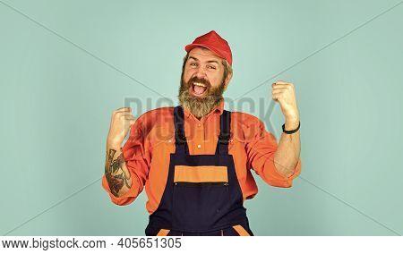Repairman Experienced Worker. Help Services. Handsome Construction Worker. Fixing Broken Technics At