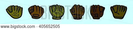 Set Of Softball Glove Cartoon Icon Design Template With Various Models. Modern Vector Illustration I