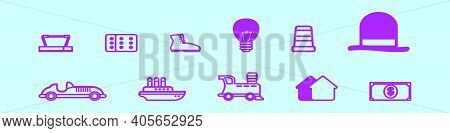 Set Of Monopoly Cartoon Icon Design Template With Various Models. Modern Vector Illustration Isolate