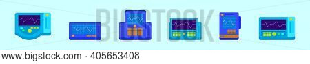 Set Of Ekg Machine Cartoon Icon Design Template With Various Models. Modern Vector Illustration Isol