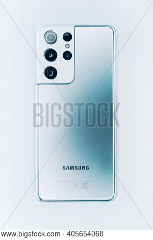 Kiev, Ukraine - January 29, 2021: The New Samsung Galaxy S21 Ultra With Many Cameras, Flat Lay
