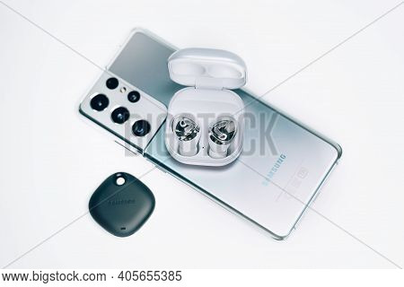 Kiev, Ukraine - January 29, 2021: New Devices From Samsung. A Box With New Headphones Samsung Buds P
