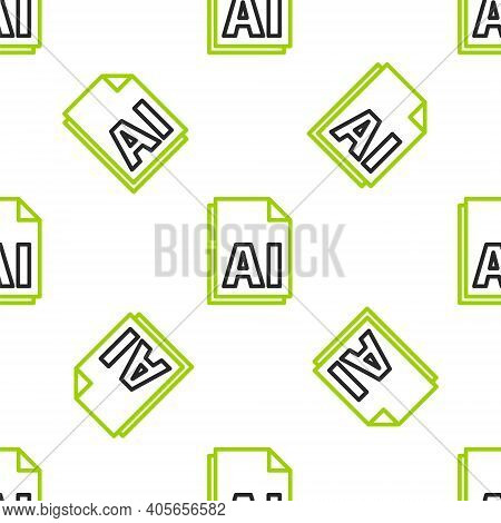 Line Ai File Document. Download Ai Button Icon Isolated Seamless Pattern On White Background. Ai Fil