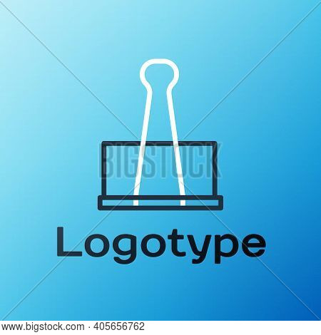 Line Binder Clip Icon Isolated On Blue Background. Paper Clip. Colorful Outline Concept. Vector Illu