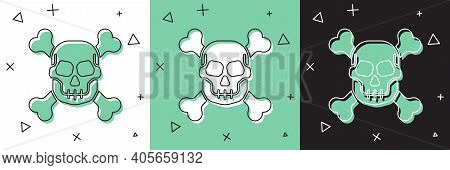 Set Skull On Crossbones Icon Isolated On White And Green, Black Background. Happy Halloween Party. V