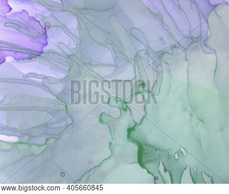 Ethereal Art Pattern. Alcohol Ink Wave Background. Lilac Creative Oil Canvas. Alcohol Inks Flow Marb