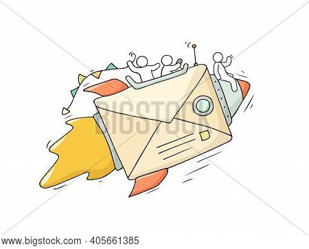 Sketch Of Working Little People With Flying Envelope. Doodle Cute Miniature Scene Of Workers. Hand D
