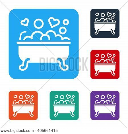 White Romantic In Bathroom Icon Isolated On White Background. Concept Romantic Date. Romantic Bathro