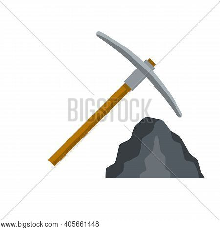 Ore Mining. Pick And Stone. Miner Tool. Pile Of Minerals. Cartoon Flat Illustration.