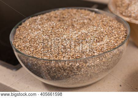 Bowls With Barley Malt And Wheat Malt For Brewing Beer