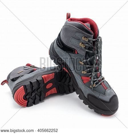Men's Trekking Boots With Grooved Soles. Made From Natural Gray Nubuck, Mesh Synthetic Fabric. Red A