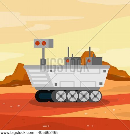 Rover. Space Vehicle. Colonization Of Mars And Scientific Research. White Spaceship On Wheels. Marti