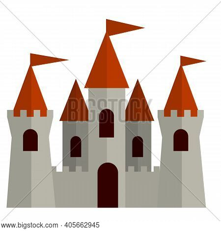 Fairytale Castle. Fortress Of The Knight And King. Medieval Old Town. Stone Walls And Towers. Fort F