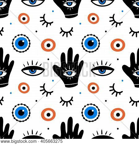 Decorative Eyes Icons, Evil Eyes Symbols Seamless Pattern Background. Intuition And Spirituality Con