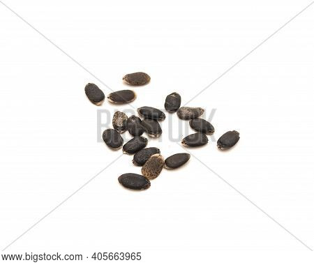 Group Of Luffa Or Loofah, Luffa Aegyptiaca Seeds Isolated On White Background
