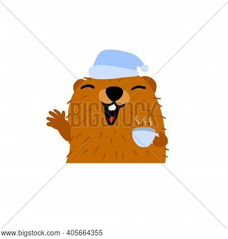 Groundhog Day. Cute Marmot In Sleep Cap And Cup Of Morning Coffee. Cute Character Of February Holida