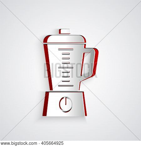 Paper Cut Blender Icon Isolated On Grey Background. Kitchen Electric Stationary Blender With Bowl. C