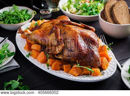 Homemade Baked Duck. Crispy Whole Roast Duck. Thanksgiving Or Christmas Dinner. Roast Duck With Thym