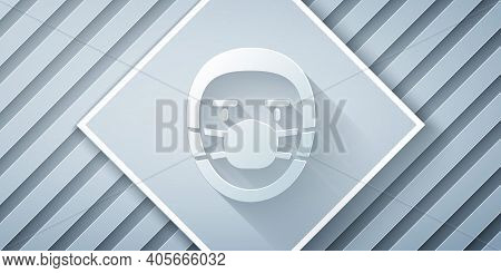 Paper Cut Doctor Pathologist Icon Isolated On Grey Background. Paper Art Style. Vector