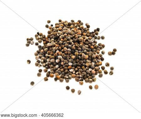 Okra Or Lady Fingers, Abelmoschus Esculentus Seeds Isolated On White Background