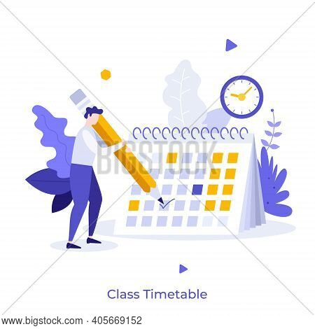 Boy Making Notes In Calendar Or Planner. Concept Of Class Timetable, Education Plan, Effective Study