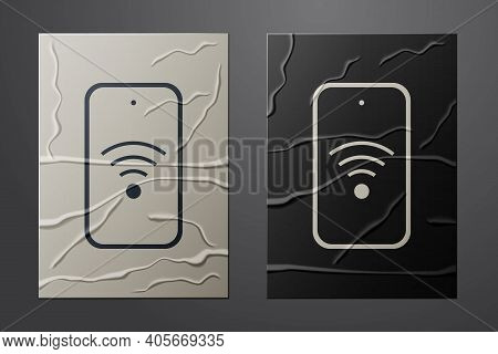 White Smartphone With Free Wi-fi Wireless Connection Icon Isolated On Crumpled Paper Background. Wir
